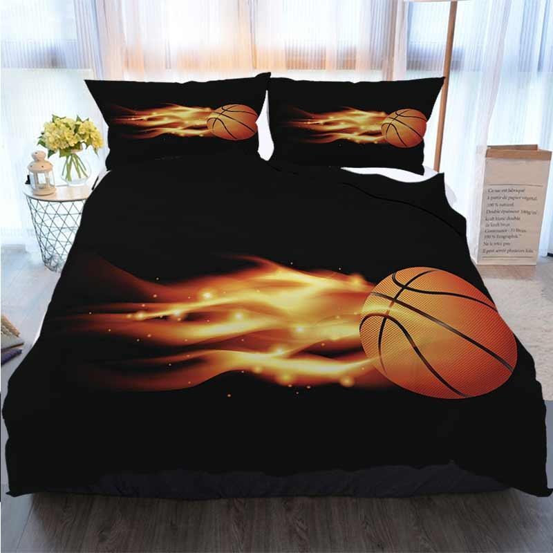 Ropa de cama 3 piezas funda nórdica Establece llameante Baloncesto Duvet Cover Designer de cama edredones Conjuntos