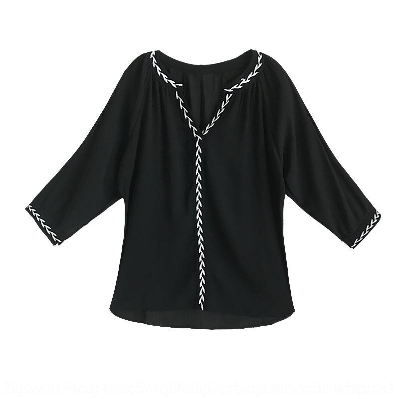 s3oBP ogFLo primavera y el nuevo estilo coreano ocasional de las mujeres recortadas verano adelgazan la camisa top con cuello en V gasa floja camisa blanca