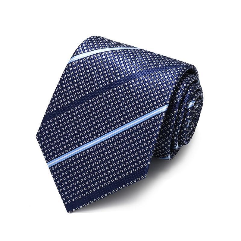 Hediye Kutusu ile Erkekler Kravat Çalışma İş Örgün Suit Yüksek Kaliteli 2020 Tasarımcı Yeni Moda kabartılmış Ekose Lacivert 8 cm Bağları