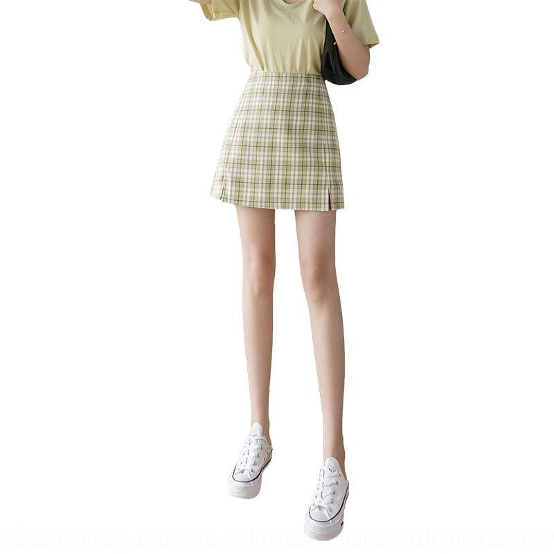 das 7aemW NipG9 mulheres primavera 2020 xadrez novo estilo saia de linha A- verão xadrez coreano alta waiststyle saia emagrecimento dividir vestido de linha A-