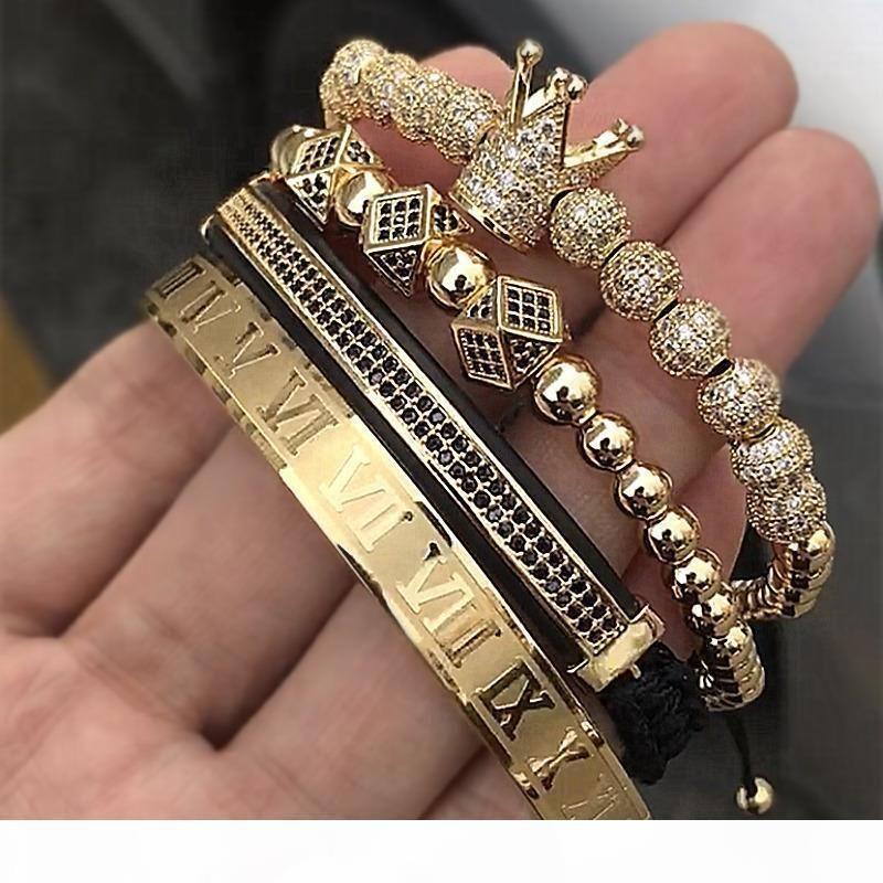 Vendita calda classica mano che intreccia braccialetto dell'oro Hip Hop monili di lusso degli uomini della CZ zircone Corona in numeri romani Bracciale Y200107