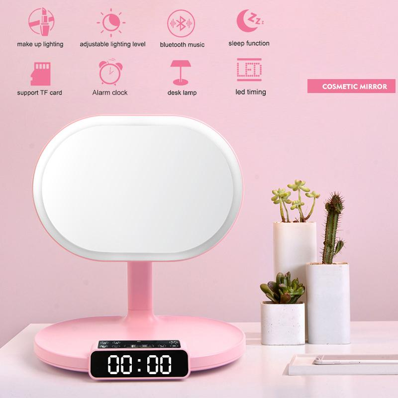 Multi-functional Makeup Mirror With Bluetooth USB Rechargeable LED Vanity Mirror TF Card with Bluetooth Speaker Clock And Lamb