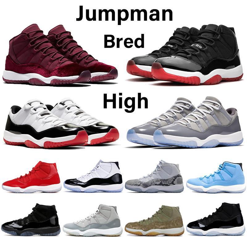 Jumpman 11 11s basquetebol dos homens sapatos herdeira noite marrom matiz platina pele de cobra-de-rosa arrefecer cinza baixo rosa branca criados ouro as sapatilhas das mulheres