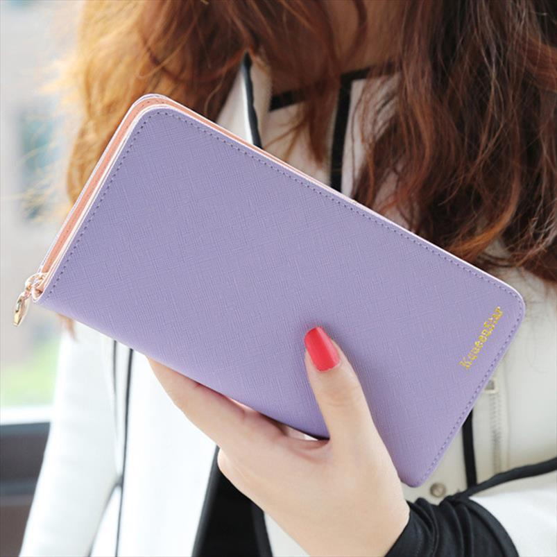 Leather Holder Fashion 7 Colors PU 2020 Long Wallets Lady Brand Solid Clutch Purse Casual Portable Women Gift Card Cash Hot Srvtw