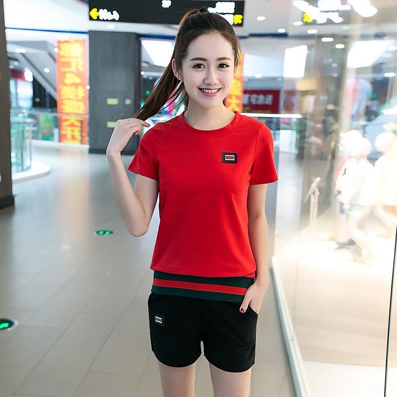 rSZ1j 19 primavera e verão nova meia luva T-shirt ocasional emagrecimento terno esportes calções calções e t-shirt de duas peças mulheres para terno