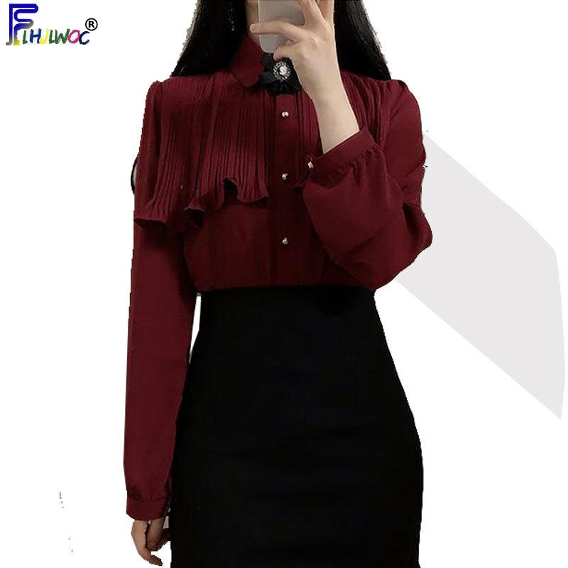 Bahar Kadın Sevimli Tatlı Vintage Ruffled Tops Sıcak Satış Düğme Şık Biçimsel Gömlekler Beyaz 1 200924