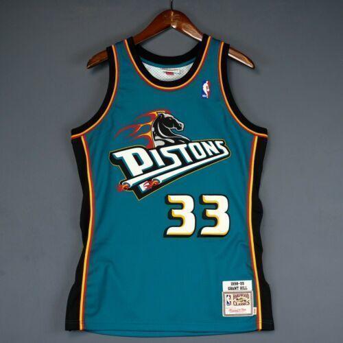Ucuz% 100 Dikişli Grant Hill Mitchell Ness DET Jersey XSbedeni-5XL Erkek Throwbacks En Basketbol formaları