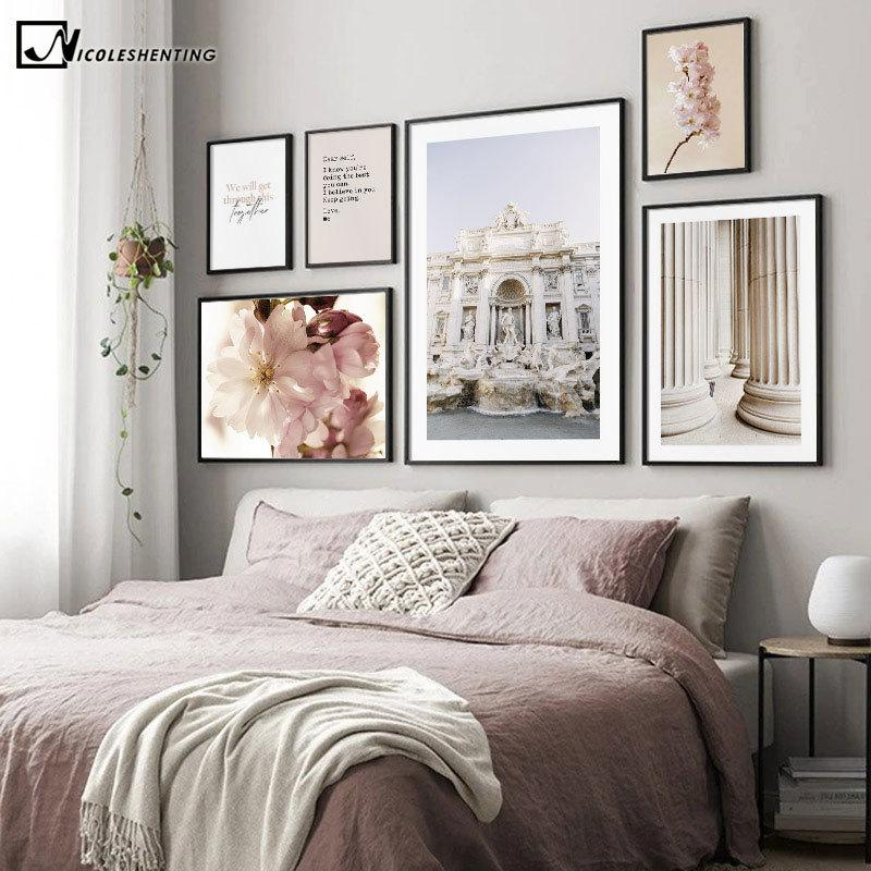 Италия Рим Старая архитектура Холст Живопись Известные Скульптура Плакат стены искусства печати Классический стиль изображения Современный Home Decor