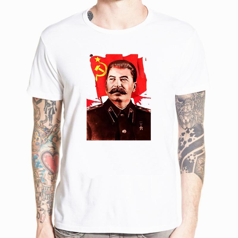 Мода Горячие продажи Иосиф Сталин Коммунистический Propaganda ФУТБОЛКА Мужчины Печать футболочку Tops Harajuku Streetwear Повседневный Plus Size