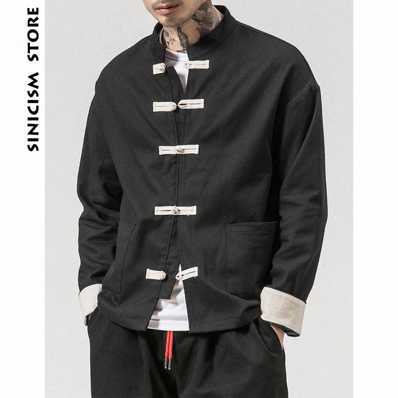 Sinicism Store Man Windbreaker 2019 Mens Casual Pocket Black Solid Bomber Jacket Male Harajuku Button Retro Fashions Jacket Biker Jack UTHR#