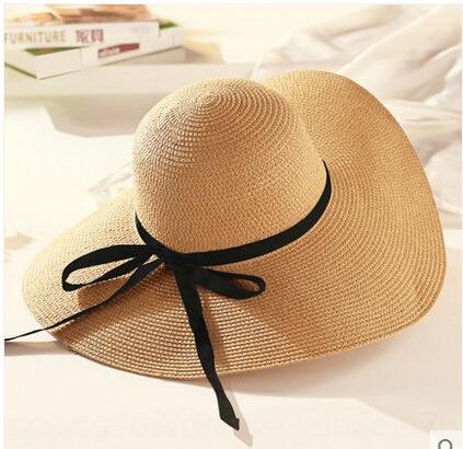 bord large protection chapeau froid plage soleil pliable UV Chapeau de soleil mer de paille d'été Femmes