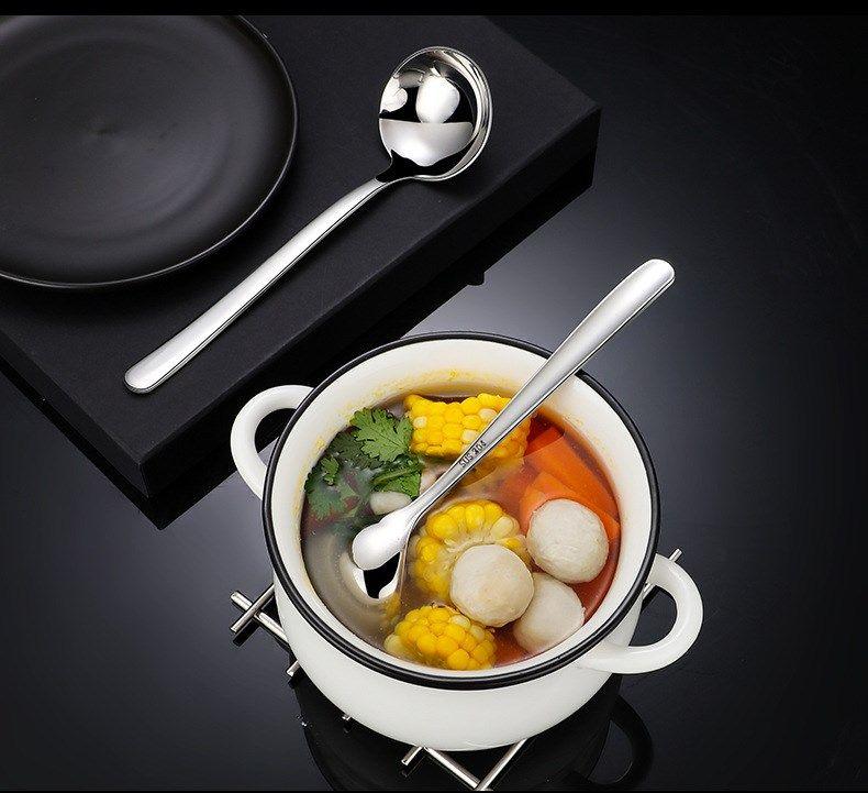 Suppenlöffel 304 Edelstahl Stiel rund und Herz-geformter Löffel Big Head Löffel für Home Kitchen Ware H-0099