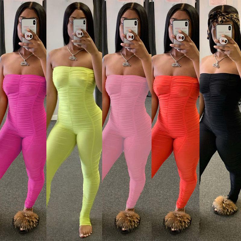 Bayan Moda Tulumlar Kapalı Omuz Pileli Seksi Clubwear Bodysuit Giyim Onesies Göğüs Tozluklar tulum Kolsuz İnce Pantolon Sarılmış