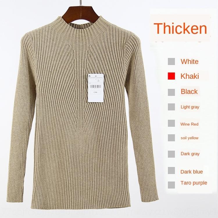 SpmUN Automne et Hiver moitié col roulé épaissie pull col milieu chemise de base slim femme manches longues style coréen tout correspondre à Pul solide