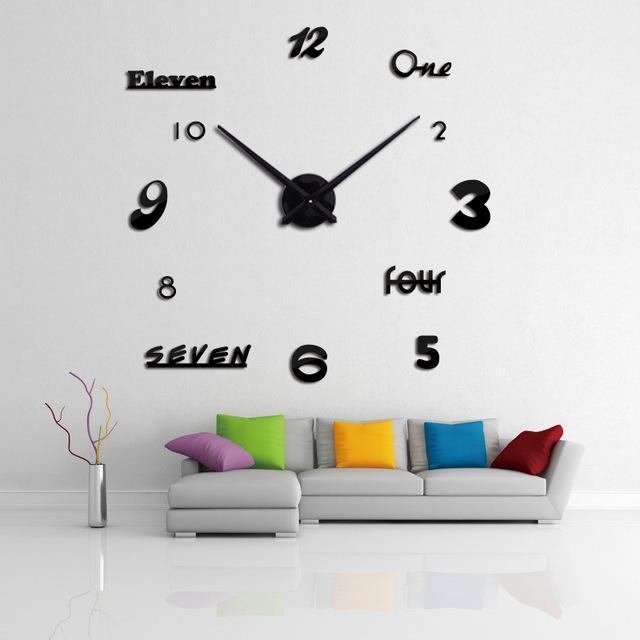 Relojes relojes La mejor decoración vendedor de la vivienda Corredor pegatinas efecto espejo de estilo moderno reloj de pared de cuarzo DIY nueva manera de la naturaleza muerta
