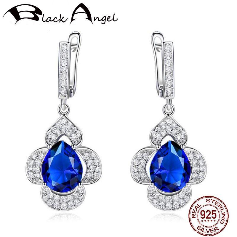 Orecchini clip Sapphire Fiori eleganti per donne romantiche originali monili blu della pietra preziosa 925 orecchini fidanzamento