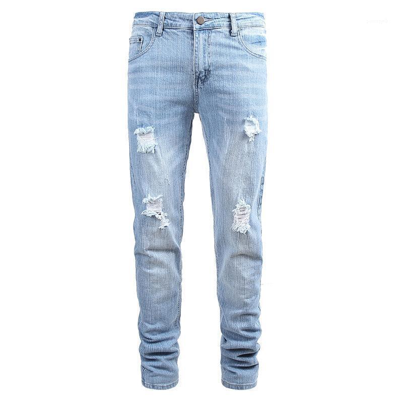 Джинсы Light Blue Hole Summere Кнопка Straight Новый конструктор Homme одежда Повседневная одежда Мужская мода Стиль