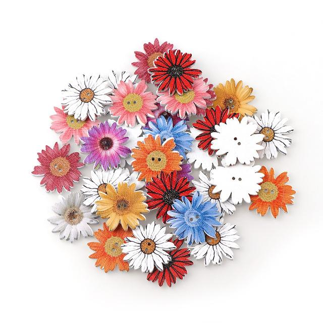 Home & Garden High quality Natural Wooden Buttons Colorful Mixed Flowers Wave Edge Scrapbook Sewing Accessories DIY Craft 2 Holes 50pc