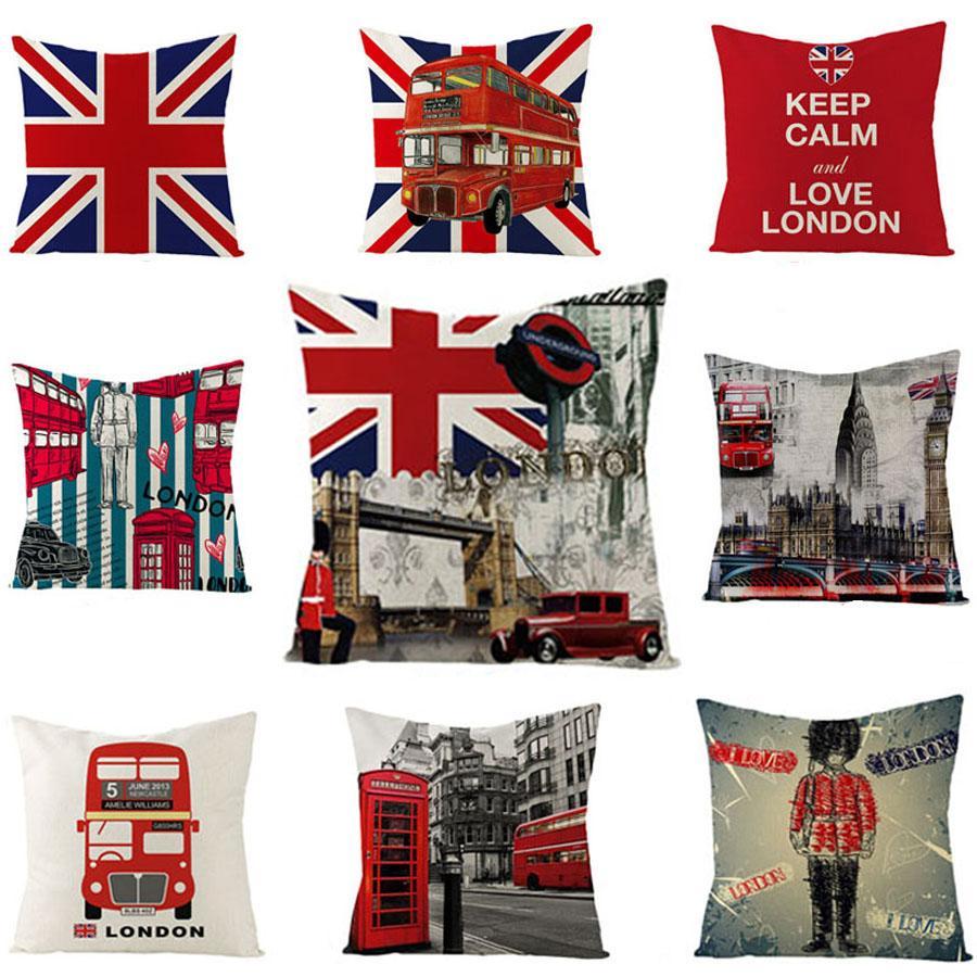 Viento británico funda de almohada 45 * 45cm de la bandera británica almohada Inicio sofá cama decoración Cojín de un lado de impresión de oficina almohada BH1407 TQQ