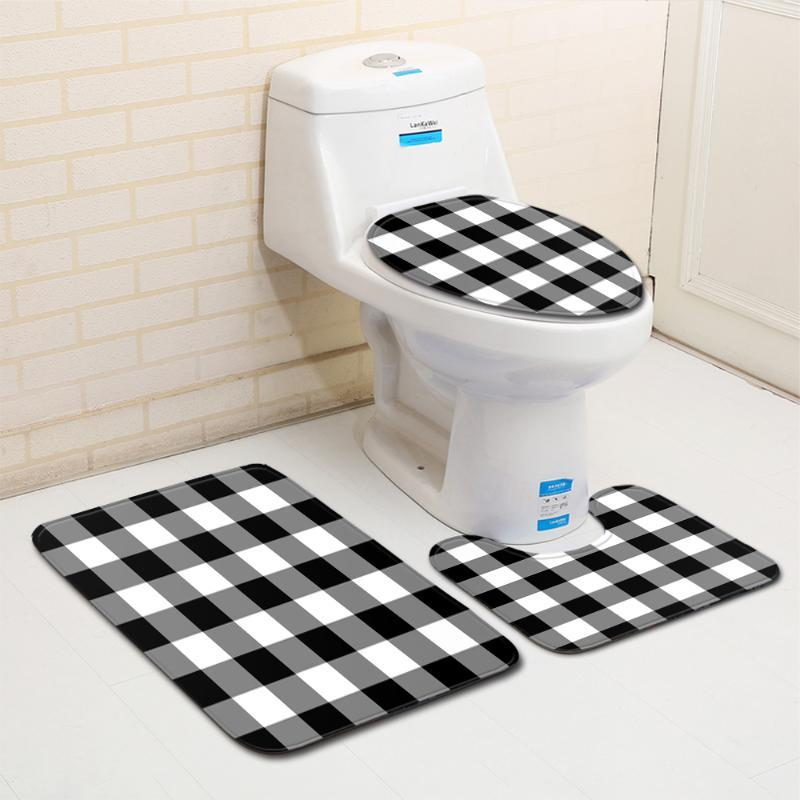 3Pcs/set Bathroom Mat Set Simple White and Black Grid Anti Slip Bath Mat Coral Fleece Floor Mats Washable Bathroom Toilet Rug