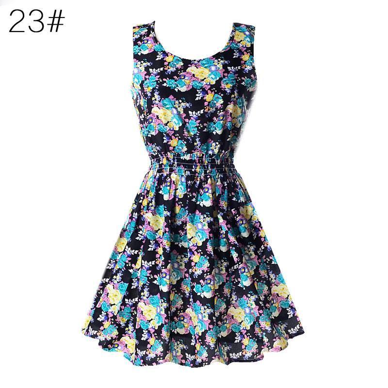Vestidos para la playa mujeres atractivas de la gasa vestido de verano sin mangas Vestido de tirantes florales tanque de 20 Colores