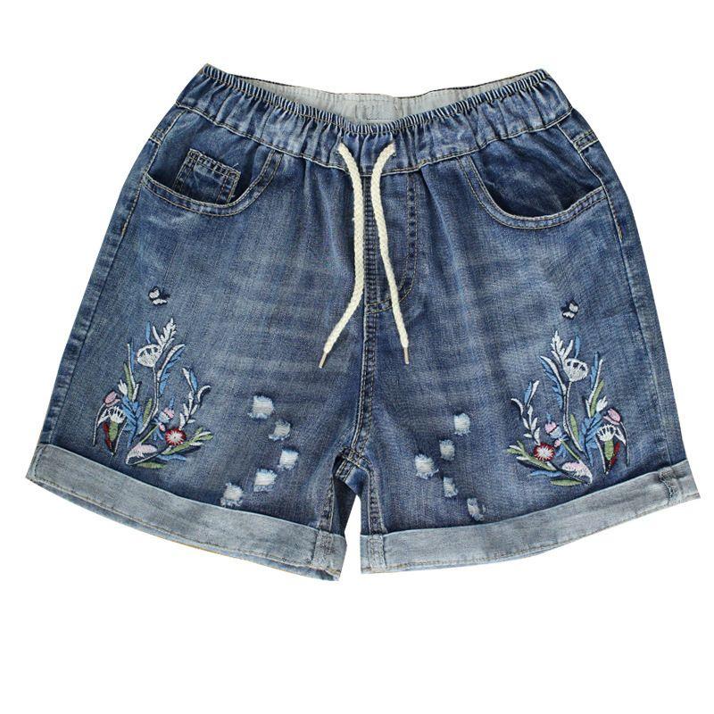 Kadın Yüksek Bel Kot Şort 2020 İlkbahar Yaz Kadın Plus Size Vintage Çiçek Nakış Jeans Kısa Feminino Y200822 Ripped