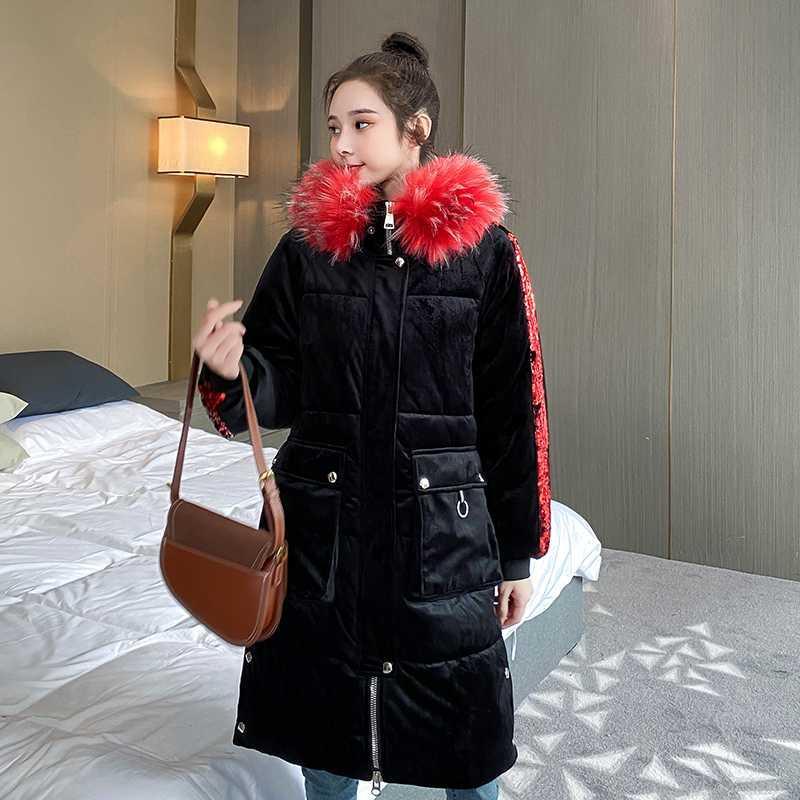 Kadın Kış Ceket X-uzun Sequins Kapşonlu Çizgili Kadın Parkas Artı boyutu Siyah Kapşonlu Kalın Kürk Yaka Casual Coat Kadın ile