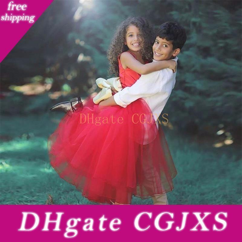 2019 pulsanti rossi Tulle estate sposa ragazze di fiore abiti con l'arco Backless principessa partito comunione abiti