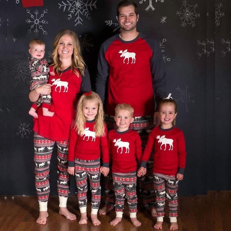Corrispondenza Xmas Moose Fata Natale in famiglia pigiama che coprono insieme per adulti bambini degli indumenti da notte Pjs Photgraphy Prop Partito