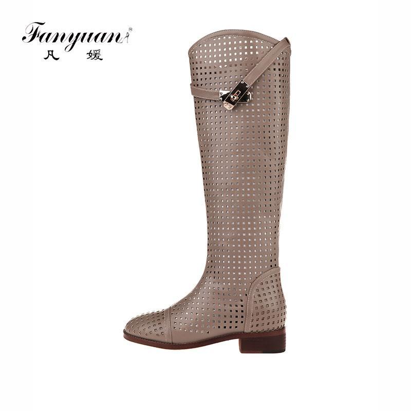 Fanyuan Yeni Moda yuvarlak Toe Kadınlar Diz Yüksek Boots Kalın Topuklar Seksi Kesimi Boots Yaz Kadın Ayakkabı Boyutu 40 Soğuk