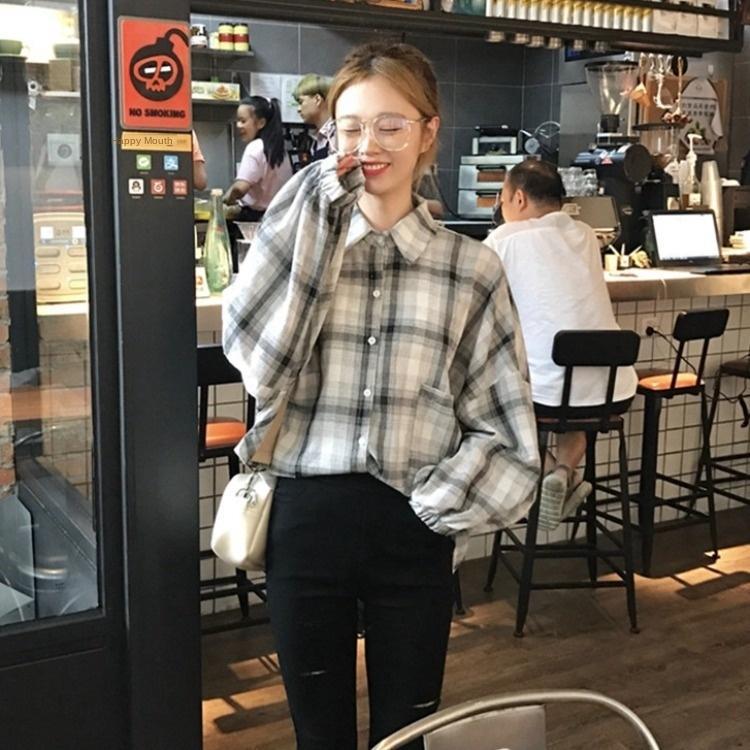 Viles OWEKU 2020 Primavera manga novo estilo coreano solta polo Mulheres da manta de dupla Brasão bolso da camisa camisa Lanterna início coat lanterna para colar 1