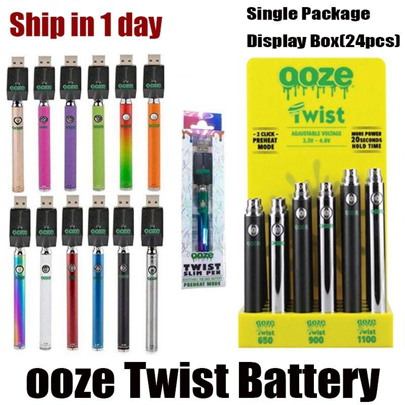 Twist Preheat Batterie 650mAh 900mAh 1100mAh mit Anzeigefeld Variablenspannung 510 Thread Vape Batterie Pk Vision Spinner VMOD Palm Law Mod