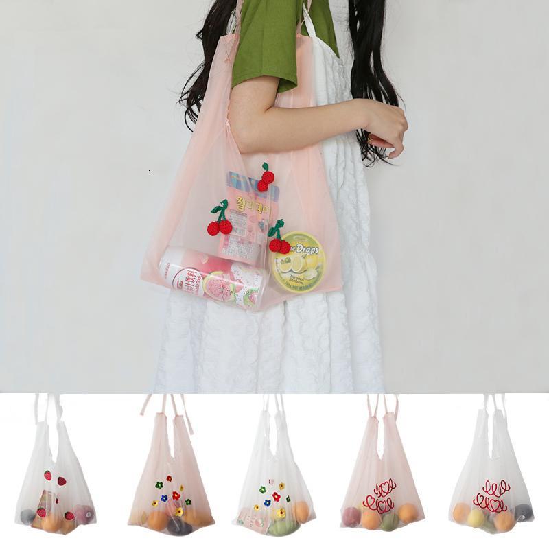 여름 오간자 핸드백 자수 어깨 가방 소녀 쇼핑 가방 지갑 여성 토트 학생 핸드백 한국어 프레피 스타일 2020 새로운