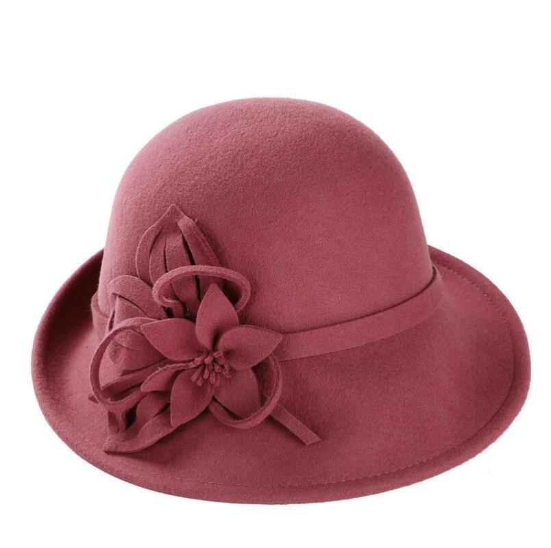 100٪ من الصوف أنثى الشتاء أستراليا الصوف خمر الزهور النسائية فيدورا ورأى القبعات الفرنسية الرامي سمبريرو قبعة فيدورا للنساء