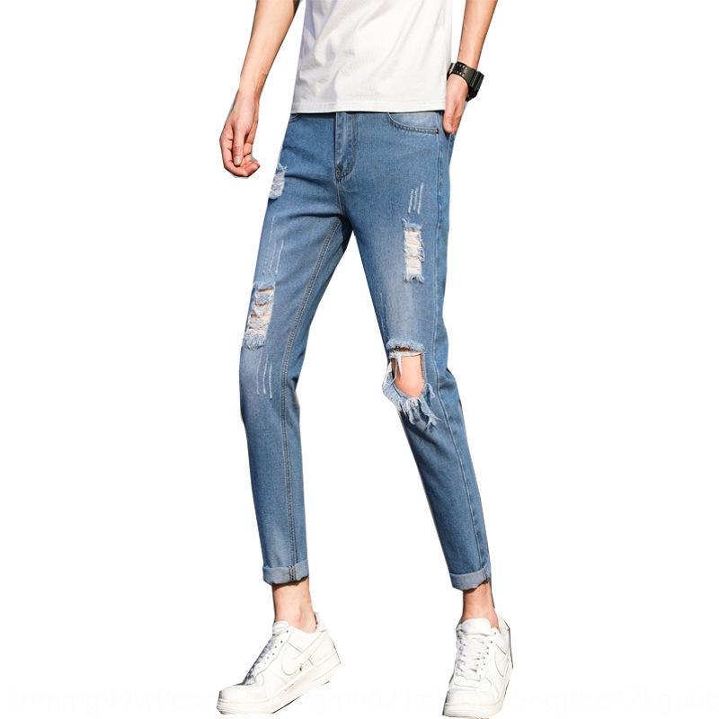 UbW3J n09uF erkekler Kore tarzı moda delik açan kot pantolon ve ve pantolon ayak bileği kot 2020 yeni ayak bileği uzunlukta gençlik gevşek gündelik erkek