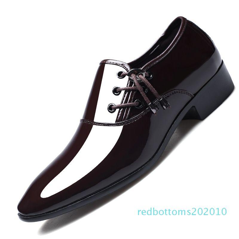 sLuxury İş Oxford Deri Ayakkabı Erkekler Nefes Lastik Formal Elbise Ayakkabı Erkek Ofisi Düğün Flats ayakkabı r10