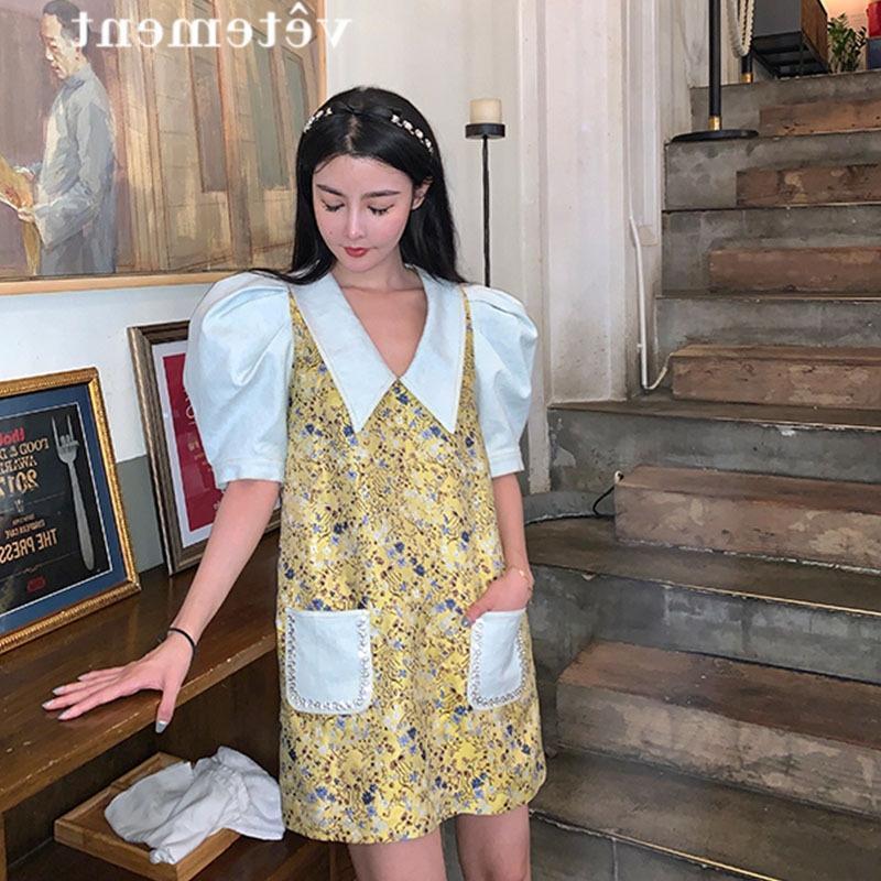 CvVf2 стиля куклы воротник пузырь рукав кукла талия цветочный грациозно платье летнего платья похудения WdekY богиня вентилятор темперамент