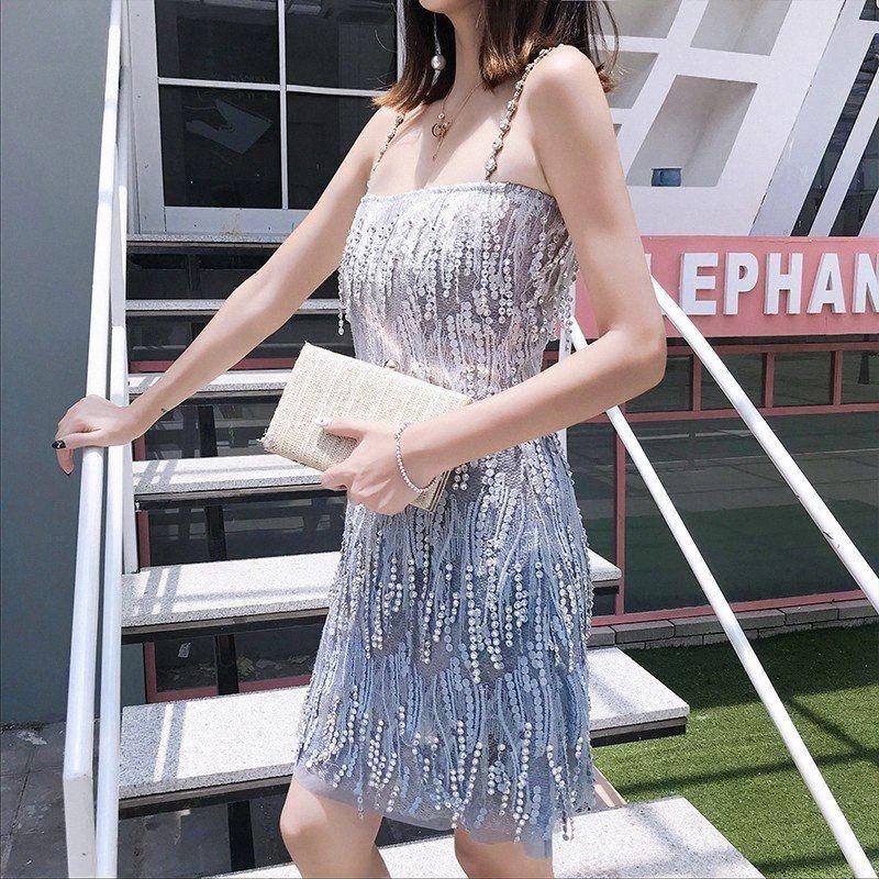 Verão New Mulheres Bling Tassel Cristal Partido elegante ombro Ladies Sexy Off Pérolas Strap mangas Mini vestido Womens Sun vestido branco E24t #