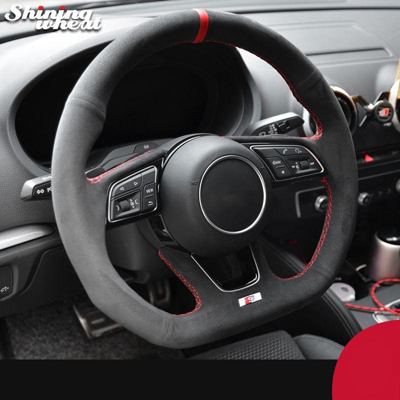 Черный Алькантара ручной сшитые рулевого управления автомобиля Колесо Обложка для Audi A3 (8V) A4 (B9) Avant A5 (F5) A1 (8X) Sportback Q2 2016-2019 гг