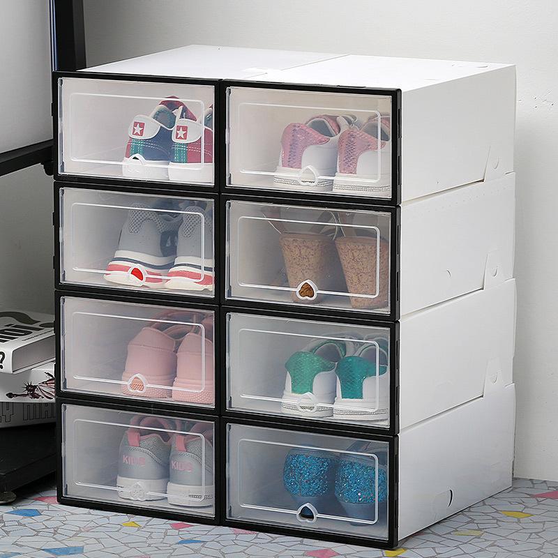 6Pcs / set Ayakkabı Organizatör Çekmece Şeffaf Plastik Ayakkabı Saklama Kutusu Dikdörtgen PP Kalınlaşmış Ayakkabı Organizatör Çekmece Ayakkabı Kutuları LJ200812