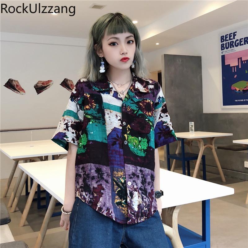 Женские блузки рубашки летом с коротким рукавом наряд сексуальные женские блузки корейская уличная одежда хараджуку рубашка топ граффити графический контраст