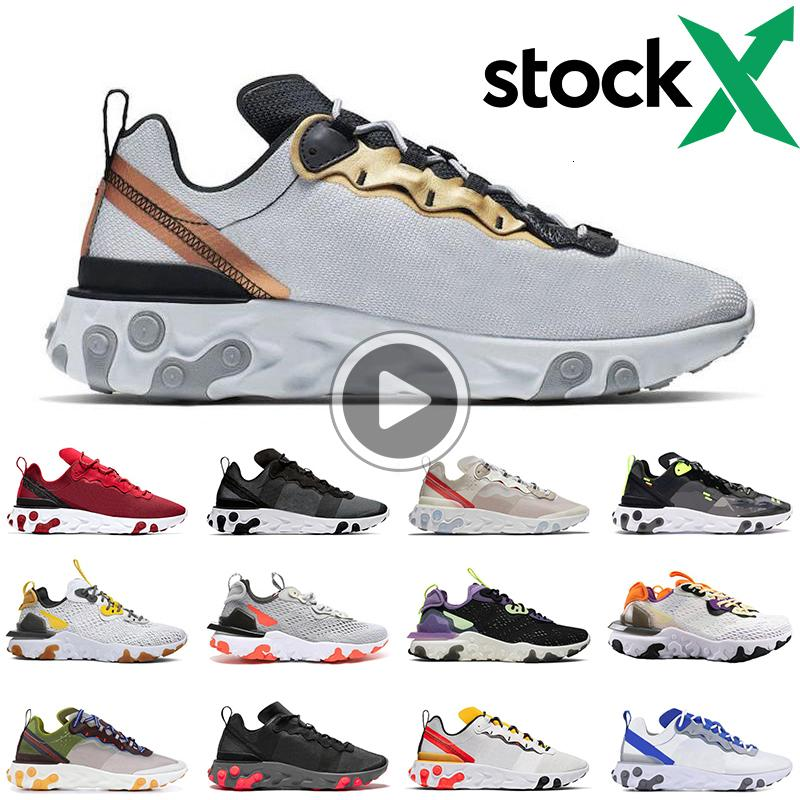 2020 React Element 87 55 Running Shoes Men Women Gold Ranger Light Bone Triple Black Bred Hyper Pink Mens Trainers Sports Sneakers Runner Jsso From Idearhome 46 18 Dhgate Com
