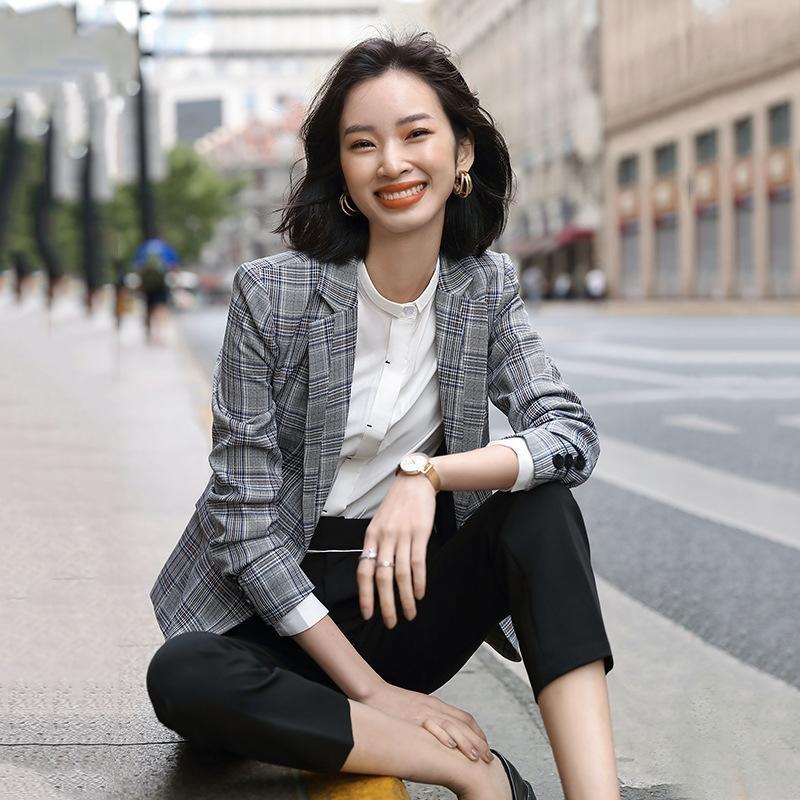 xmVy8 pequeno 2019 Outono terno mulheres e inverno casaco novo Brasão coreano estilo slim fit temperamento curto manga longa casuais top terno xadrez