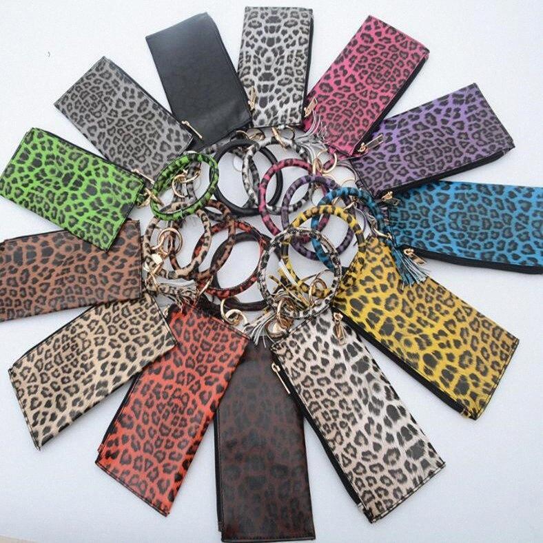 Anillo Señora del grano del leopardo de la borla de la manera del bolso redondo del metal pulsera Bolsa Llavero con Sandwich Monedero Monedero WY513Q CA7Y #