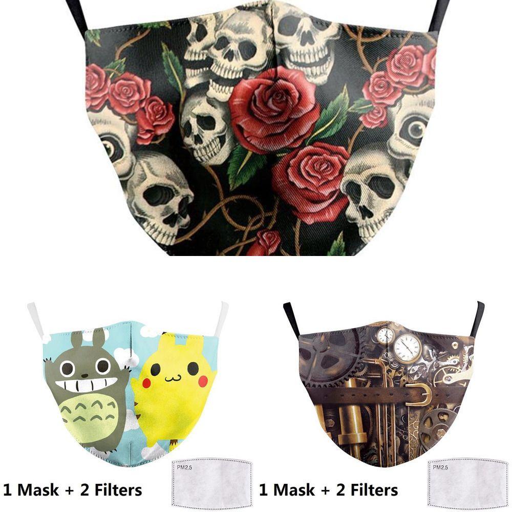 Yetişkin Ağız Baskı Yüz Big Karşıtı Kumaş Maskeler Unicorn Ağız Kapak Yeniden kullanılabilir Koruma Toz L92Q1