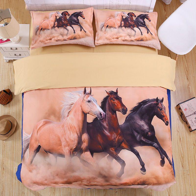 лошадь 3D комплект постельных принадлежностей для печати Пододеяльник наборы Твин королева король Красивый узор Реальный эффект реалистичного простыню белья