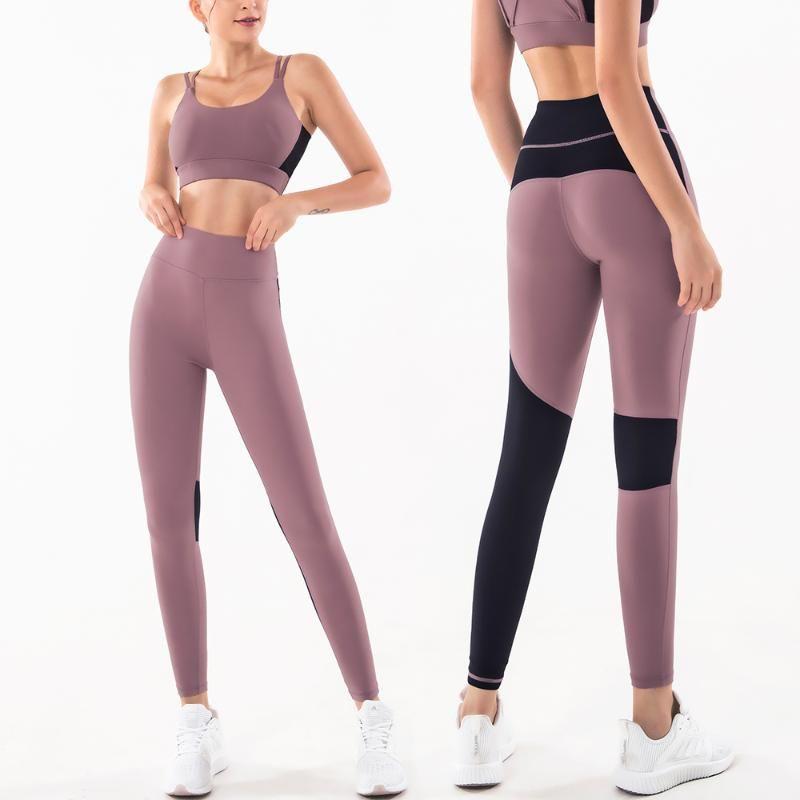 Stretch dünne feste Sportbekleidung Damen-Training im Freien Leggings Fitness Sport-Gymnastik-Jogging Yoga Sporthose Elastischer Wear