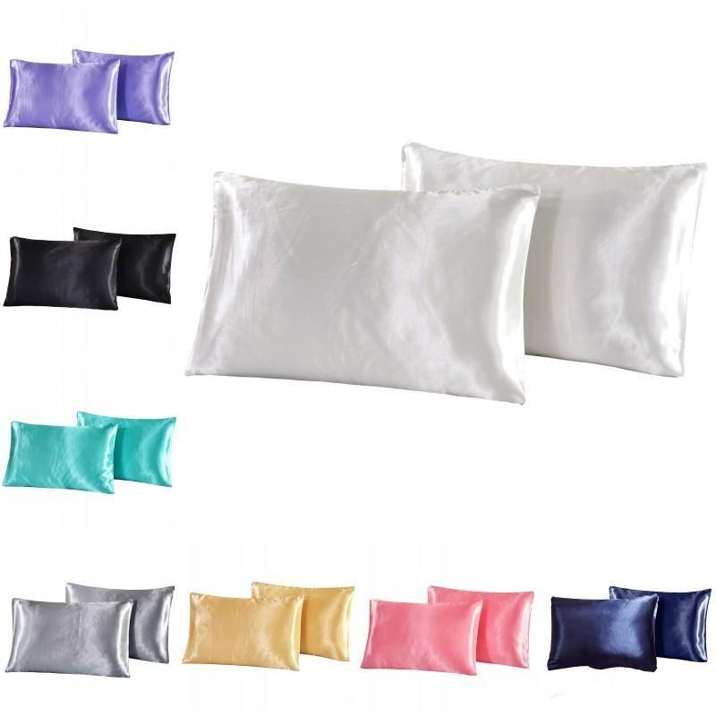 Farbe Supplies Solide Bezug Bettwäsche Fall Pillowcase Silk Satin-Kissen Solid Color Kissen Weihnachten Silk Simulation xhlight JFuOE
