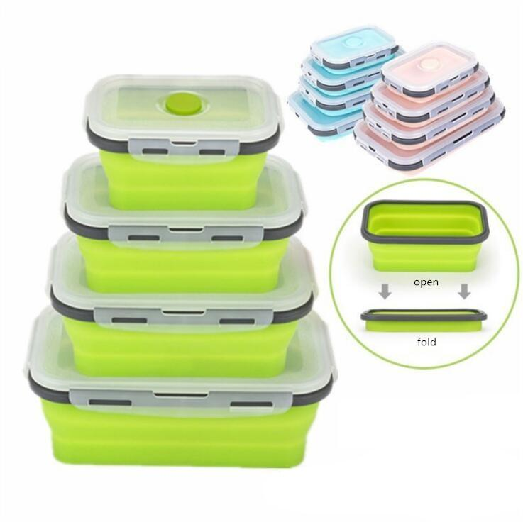 Floding lunch boxes student portable bento box 6 Colors food grade silicone food storage containers 350ml/500ml/800ml/1200ml AAE1841