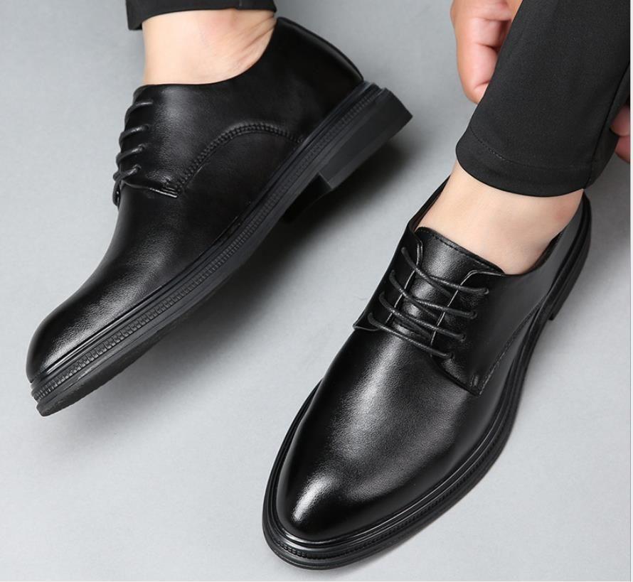 Cuero de la marca de los hombres zapatos de vestir el novio de vestir 2021 del banquete de boda de Navidad Zapatos Oxford Retro Vintage zapatos elegantes del asunto del trabajo AL6980